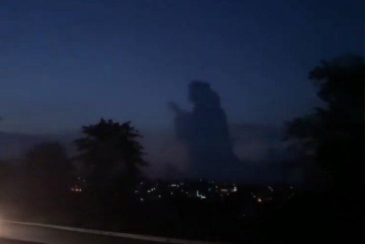 Biblical silhouette mysteriously appears in the sunset sky over Indonesia